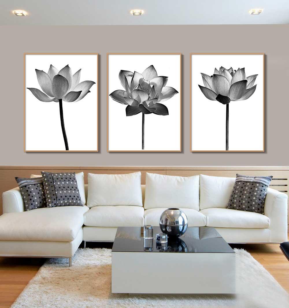 Conjunto com 03 Quadros Decorativos Flor de Lotus Preto e Branco