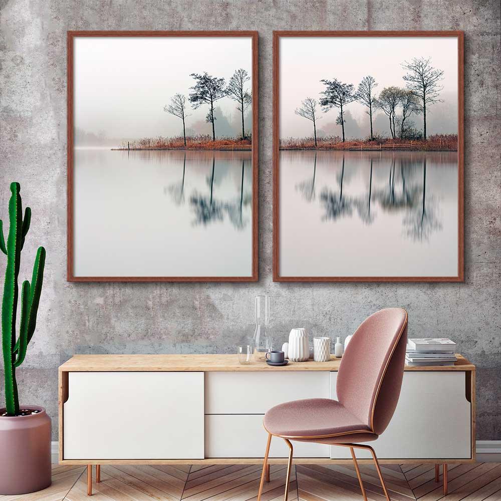 Conjunto de 02 Quadros Decorativos Paisagem Reflexo Na Água