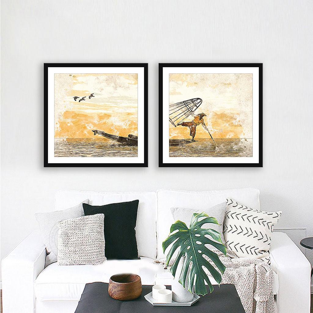 Conjunto de 02 Quadros Decorativos Pescador