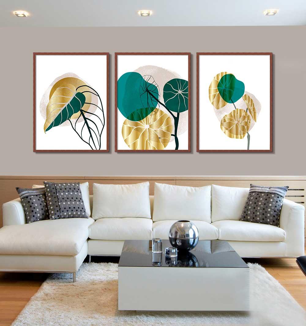Conjunto de 03 Quadros Decorativos Arte Abstrata Doodle Folhas Douradas