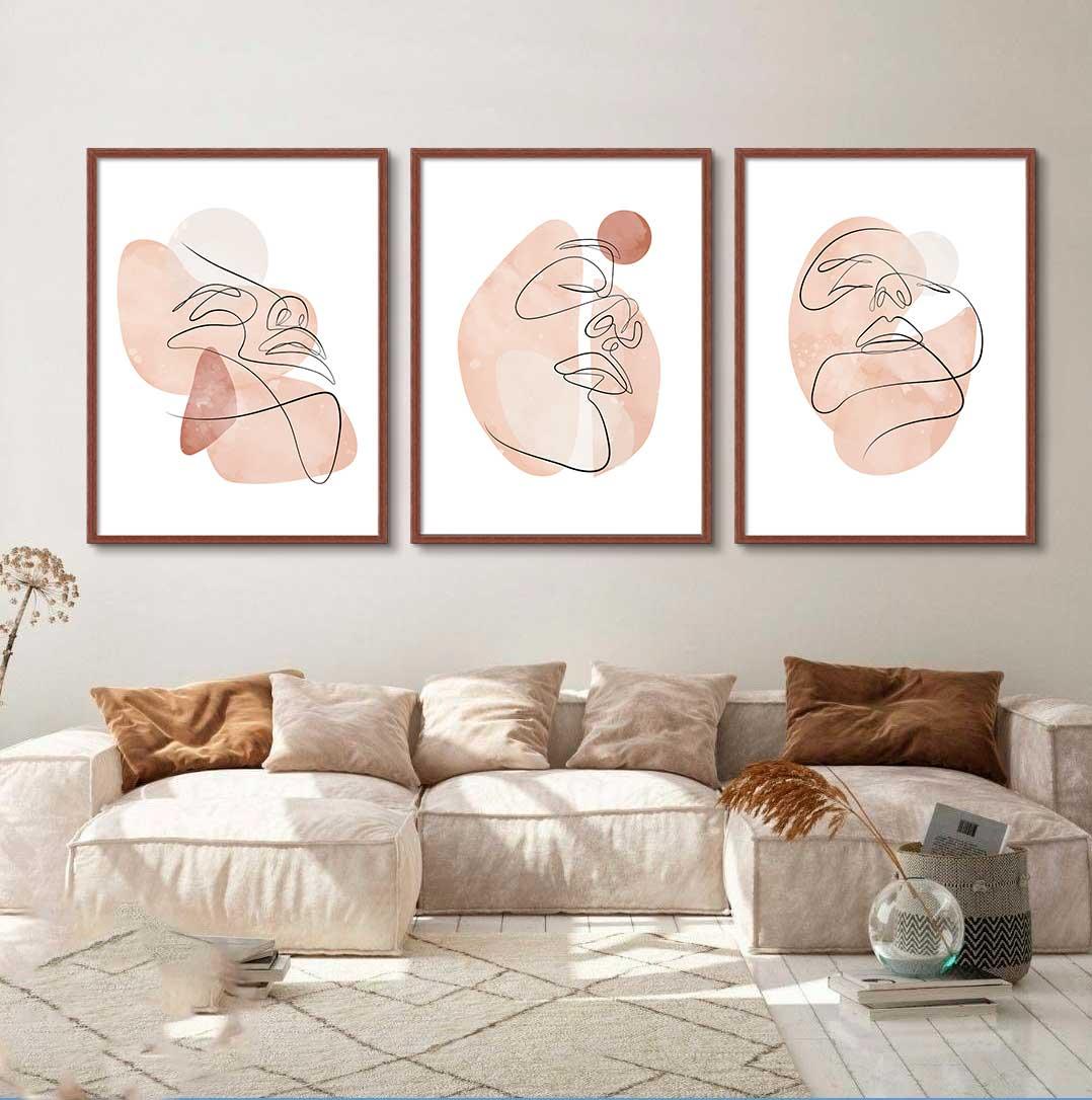 Conjunto de 03 Quadros Decorativos Arte Abstrata Rosto Minimalista