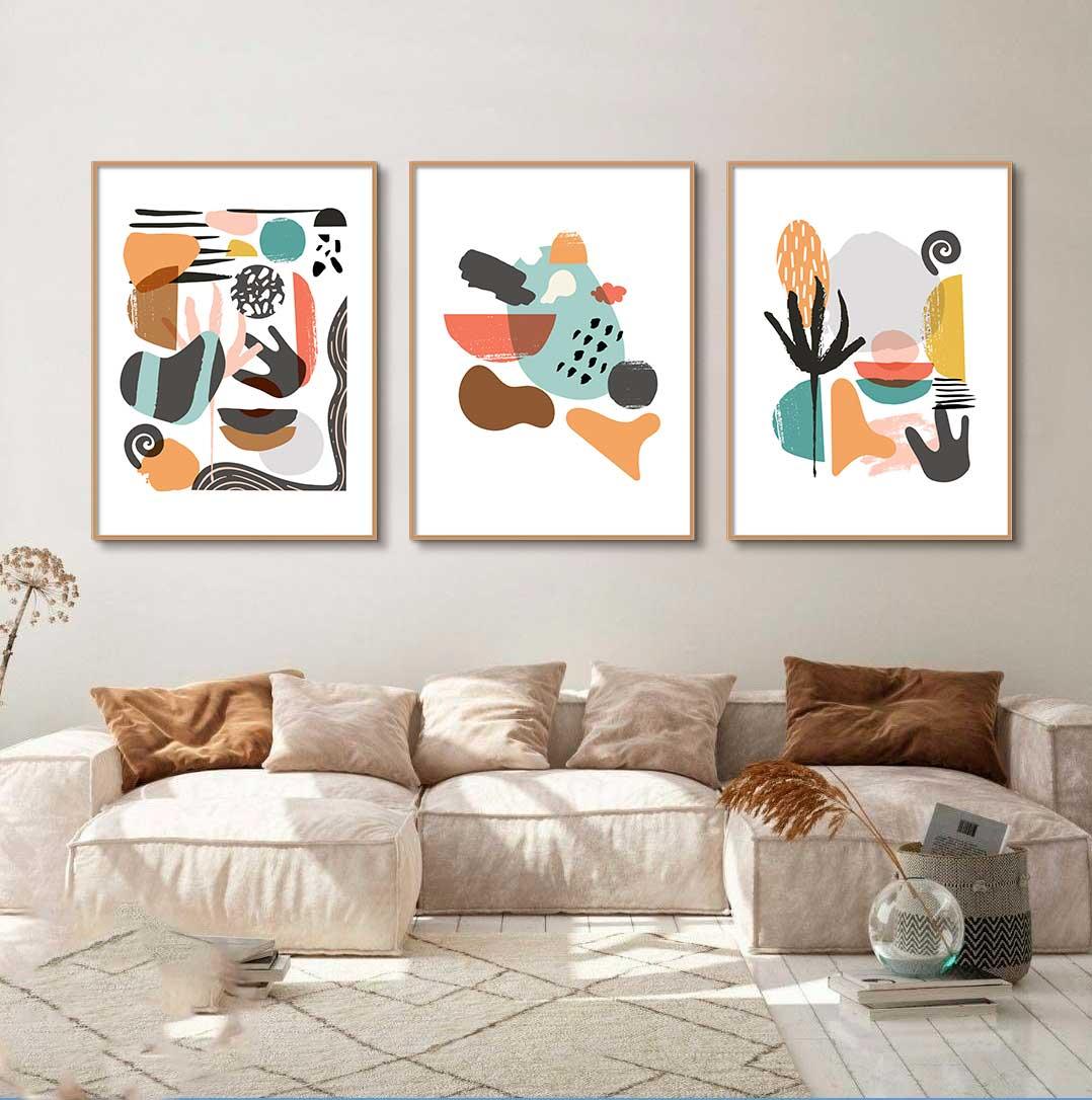 Conjunto de Quadros Decorativos Abstrato Arte Moderna Colorida