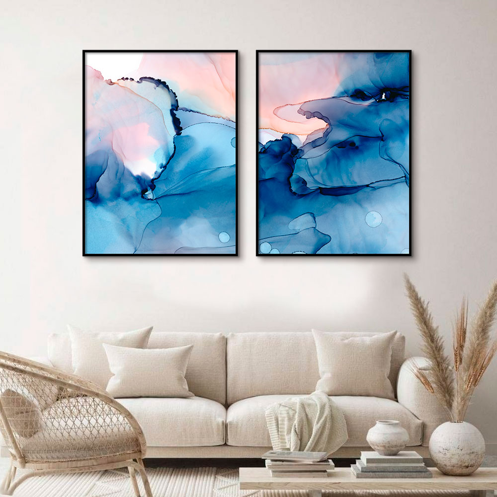 Conjunto de Quadros Decorativos Abstrato Azul Artístico