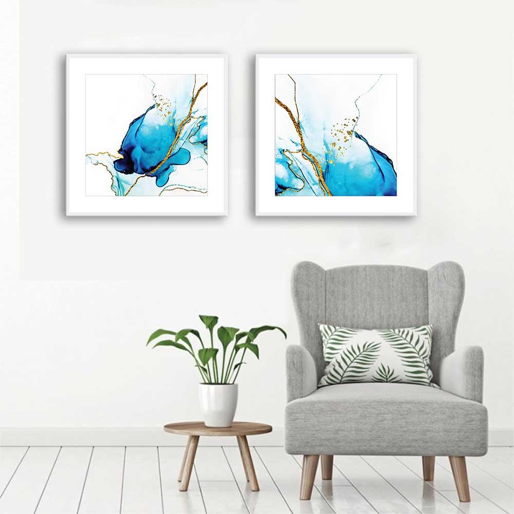 Conjunto de Quadros Decorativos Abstrato Azul e Dourado