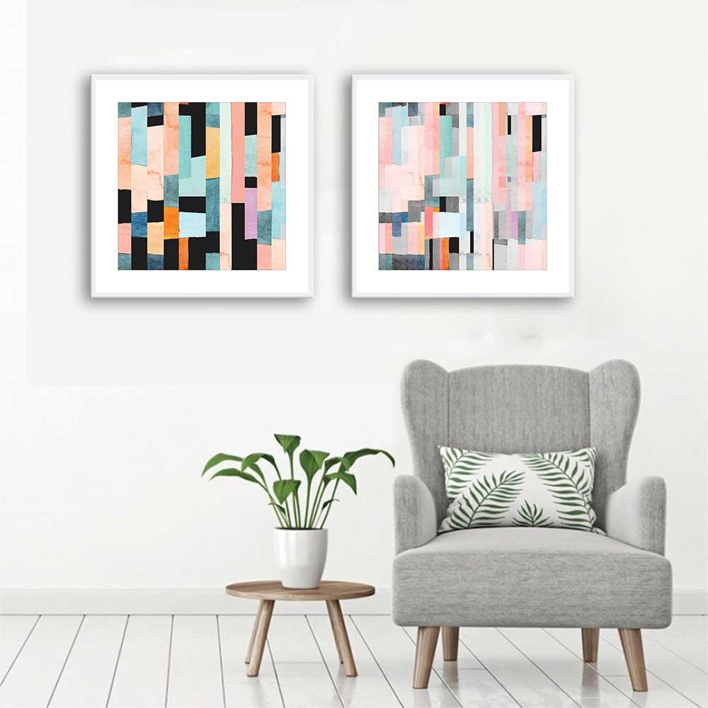 Conjunto de Quadros Decorativos Abstrato Colorido