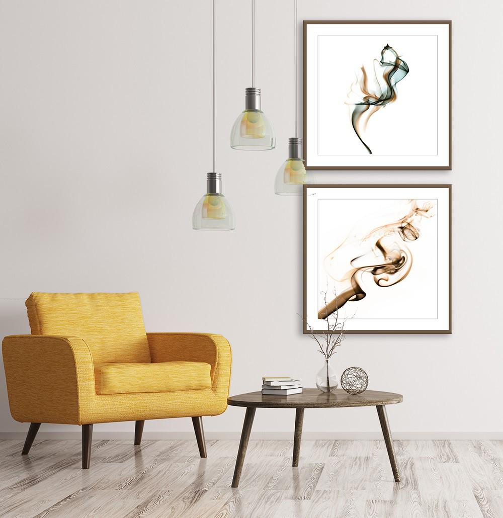Conjunto de Quadros Decorativos Abstrato Fumaça Colorida