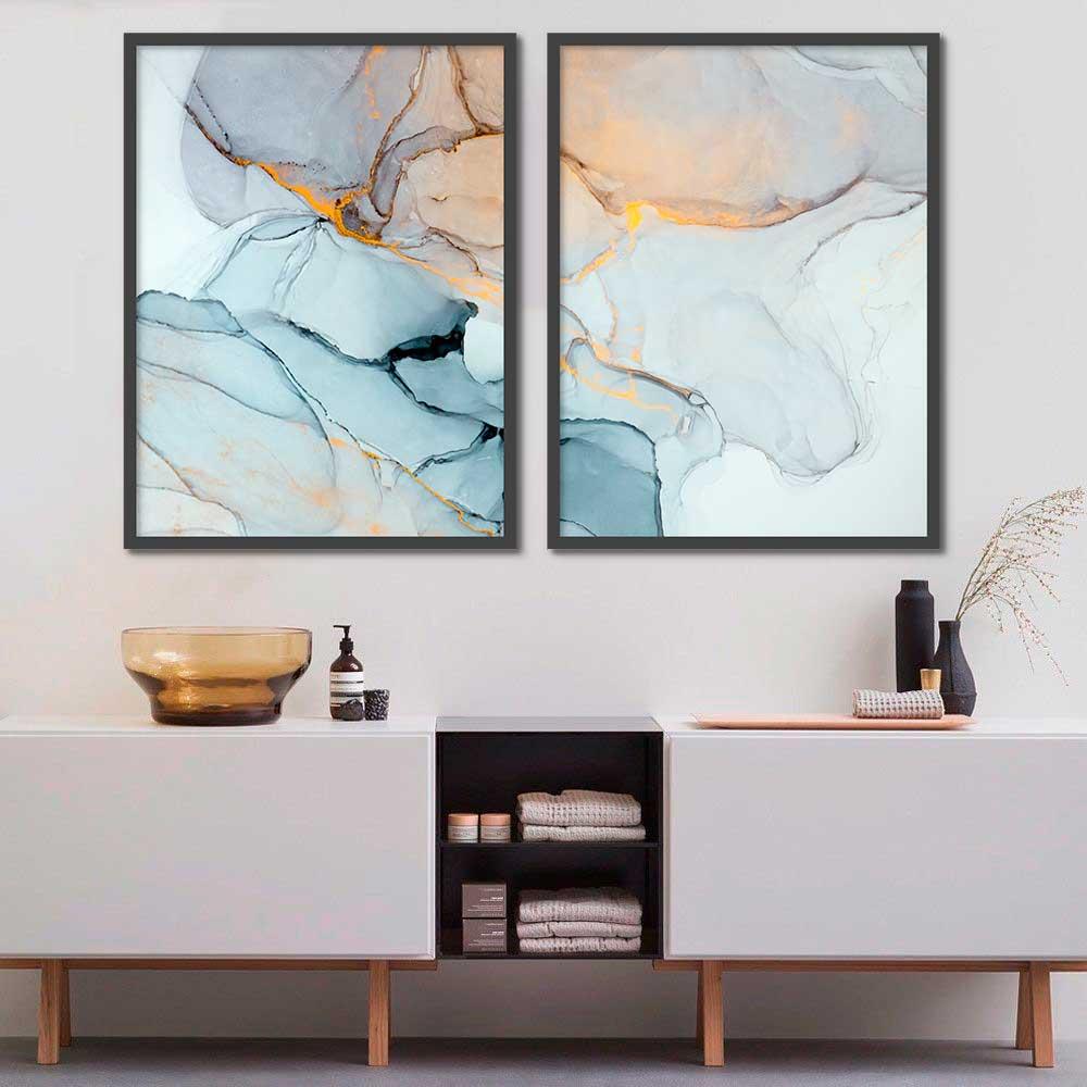 Conjunto de Quadros Decorativos Abstrato Marmorizado