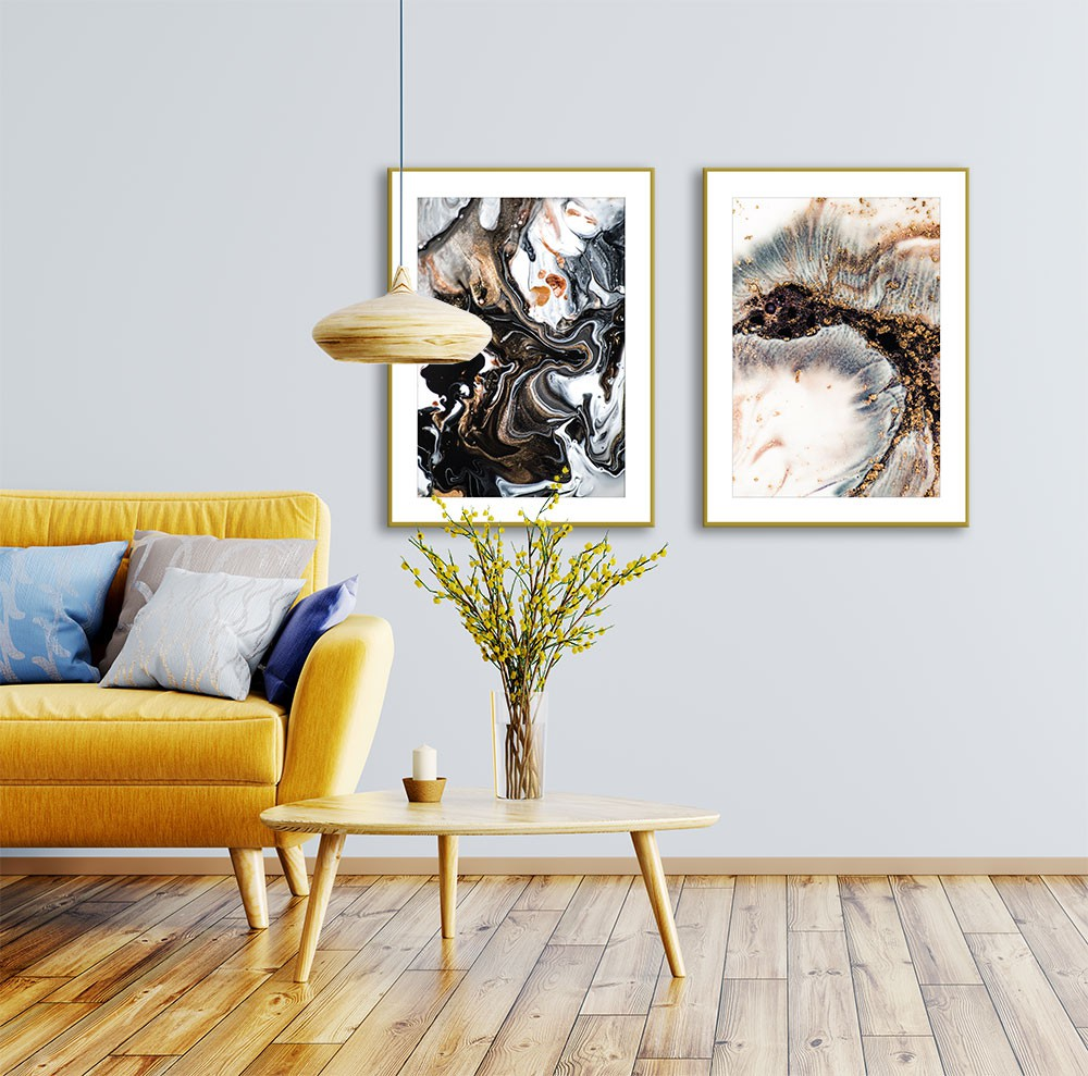 Conjunto de Quadros Decorativos Abstrato Marmorizado Black and Gold