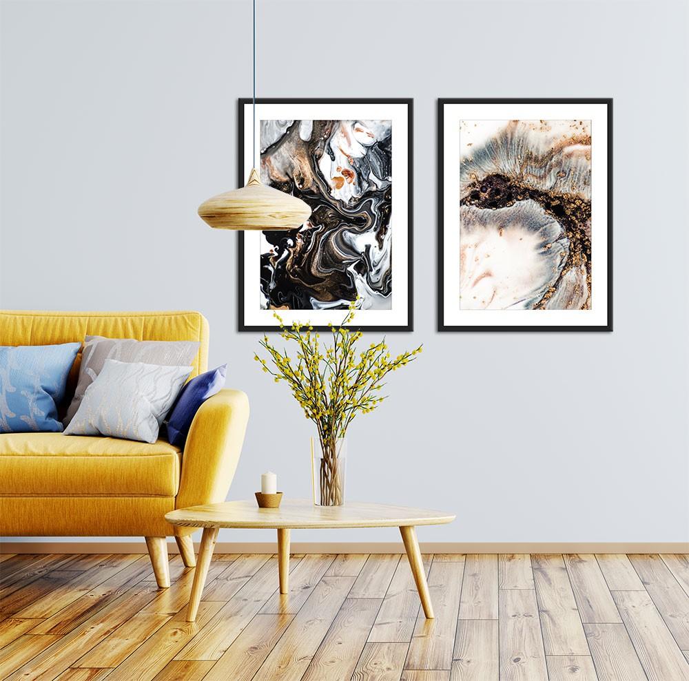 Conjunto de Quadros Decorativos Abstrato Marmorizado Black and Gold