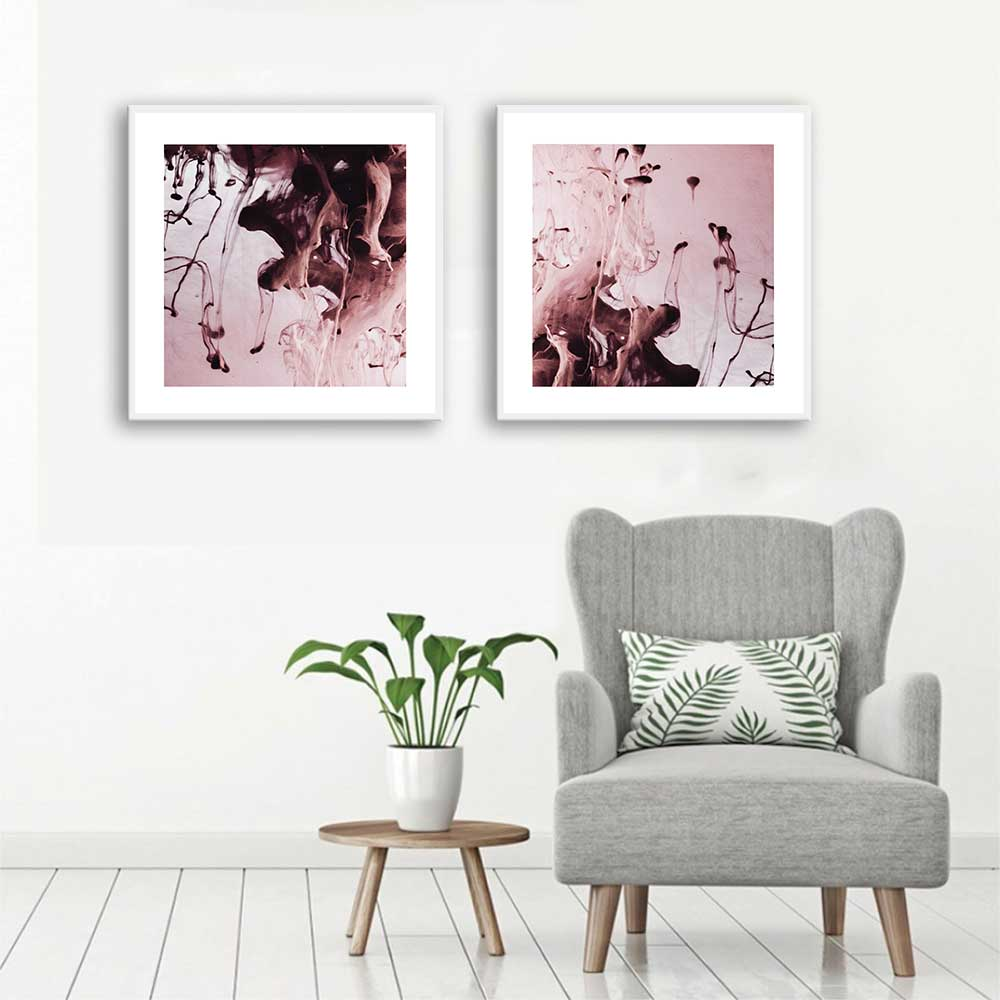 Conjunto de Quadros Decorativos Abstrato Rose