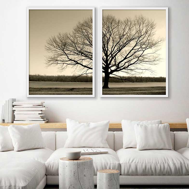 Conjunto de Quadros Decorativos Árvore no Campo