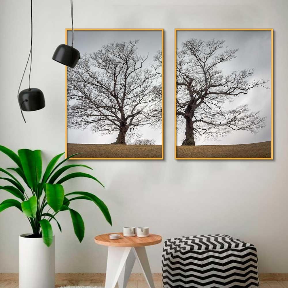 Conjunto de Quadros Decorativos Árvore Preto e Branco