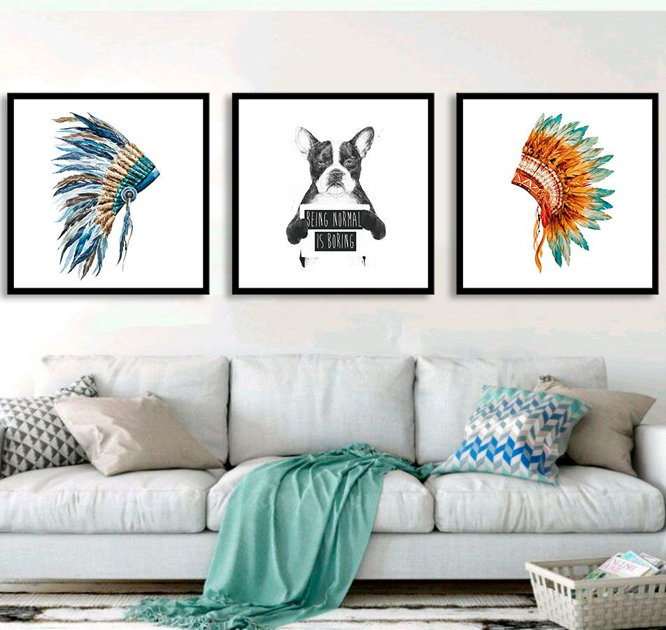 Conjunto de Quadros Decorativos Cocar e Dog Normal Is Boring
