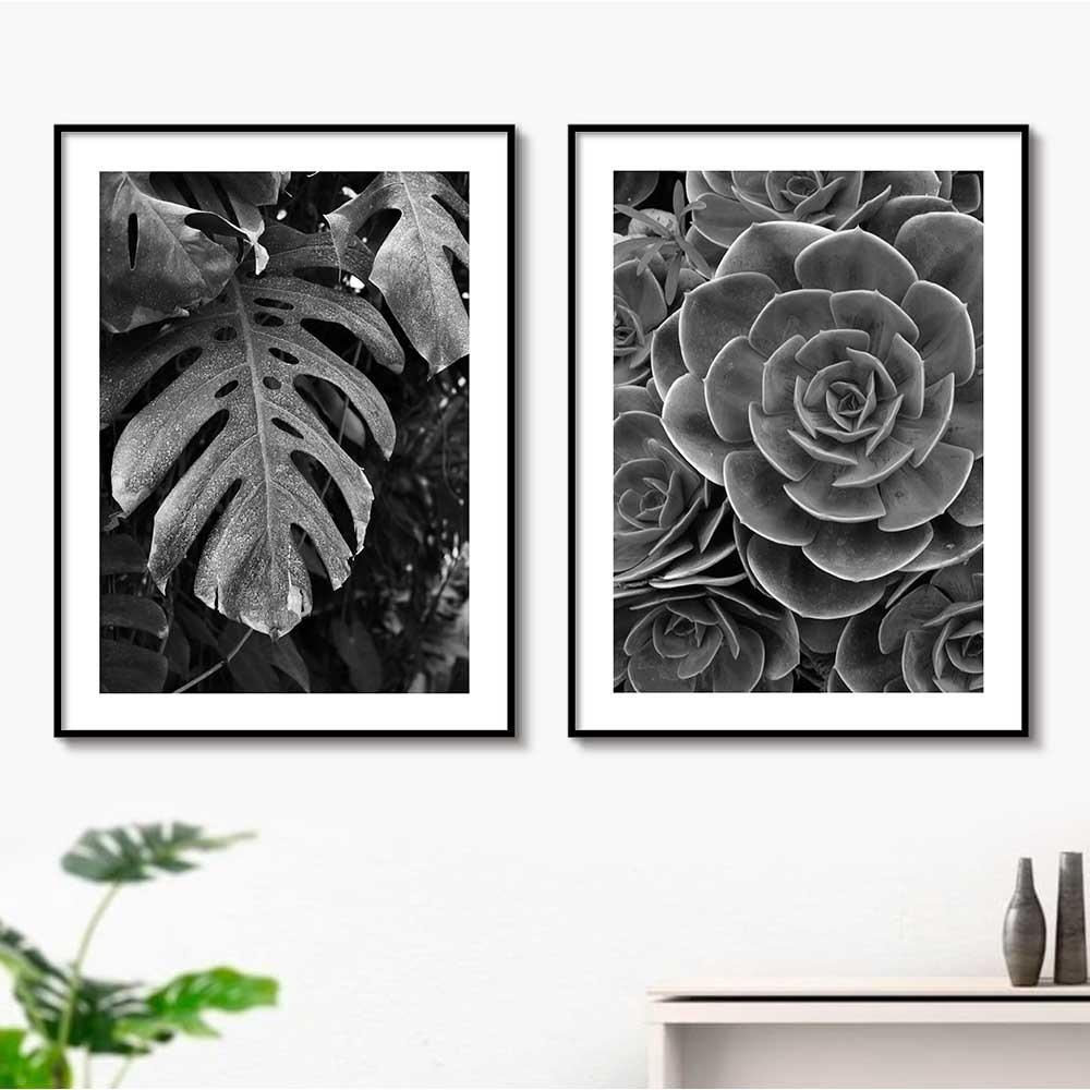 Conjunto de Quadros Decorativos com Flor e Folha Preto e Branco
