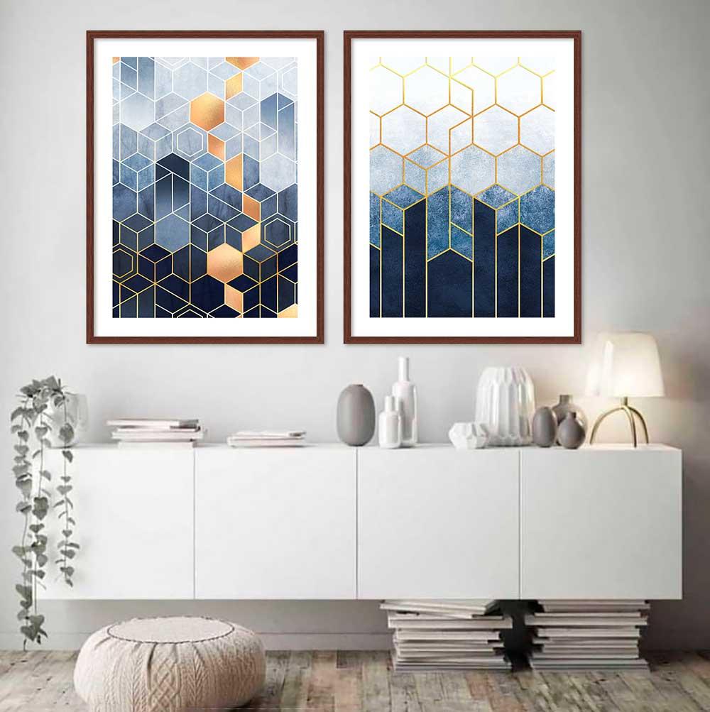 Conjunto de Quadros Decorativos com formas Geométricas Azul Gold
