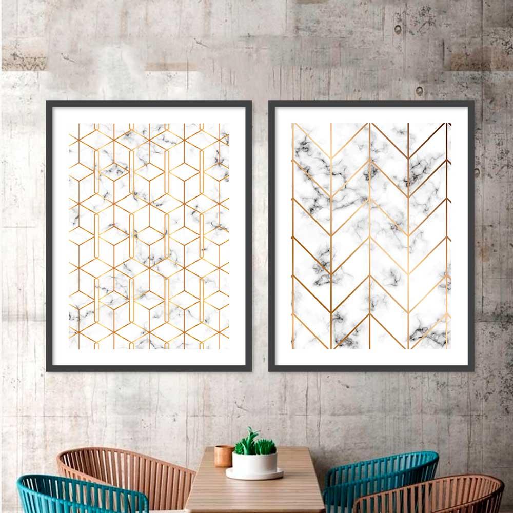 Conjunto de Quadros Decorativos com formas Geométricas Gold Marmorizado