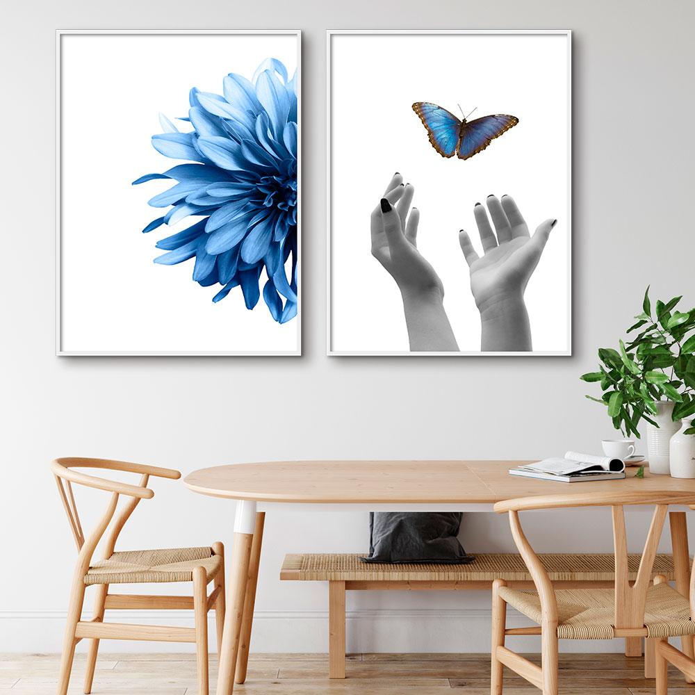 Conjunto de Quadros Decorativos Flor Azul e Borboleta