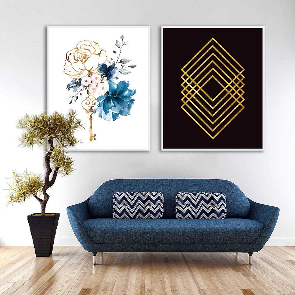 Conjunto de Quadros Decorativos Flor e Geométrico