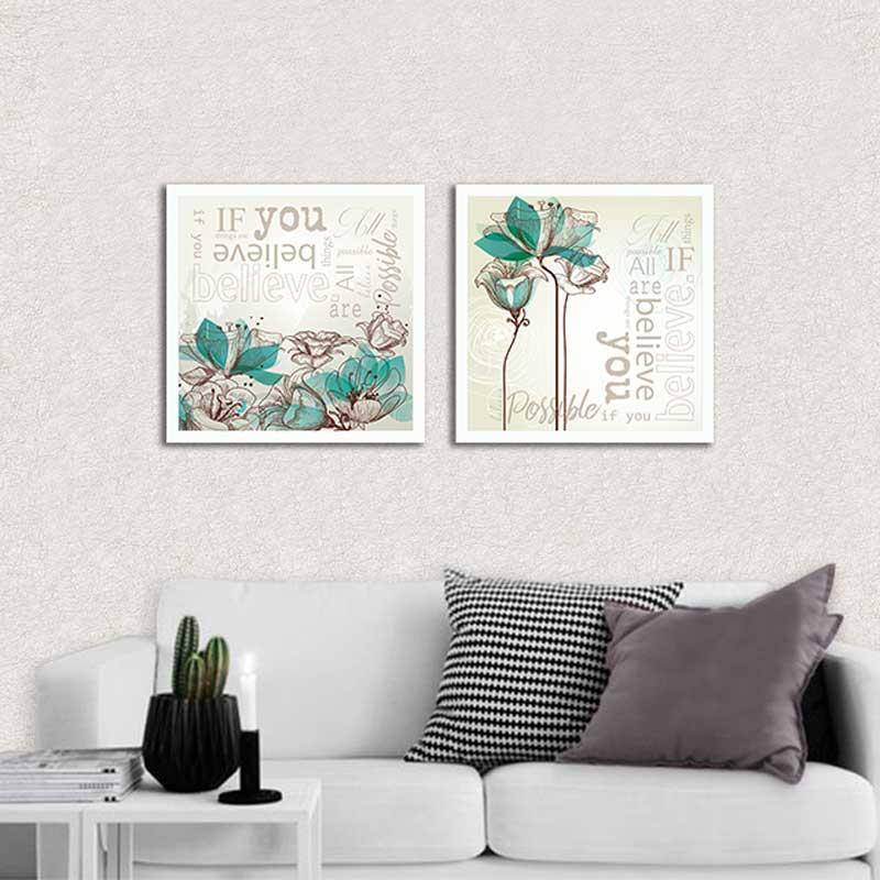 Conjunto de Quadros Decorativos Flores e Palavras