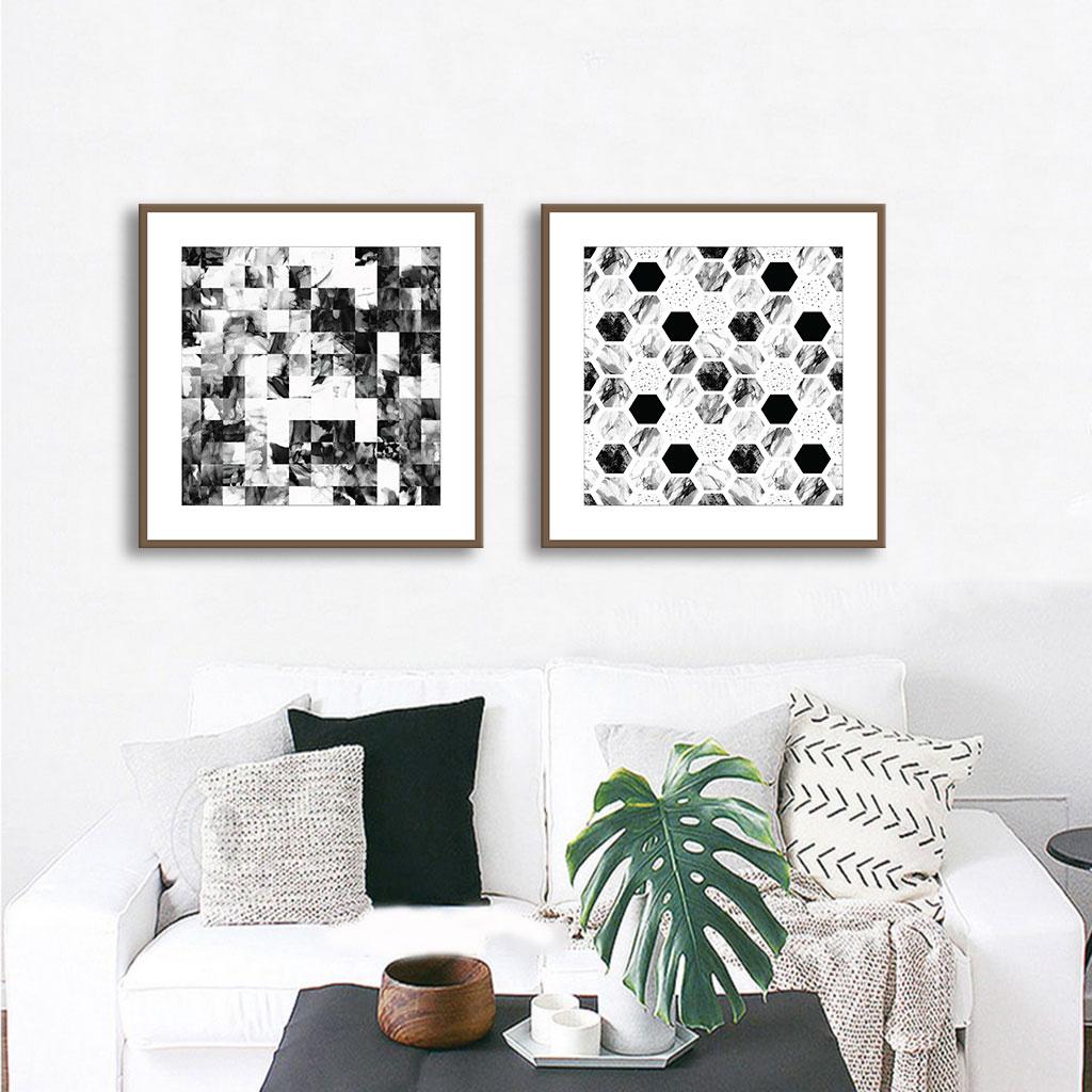 Conjunto de Quadros Decorativos Geométrico Preto e Branco