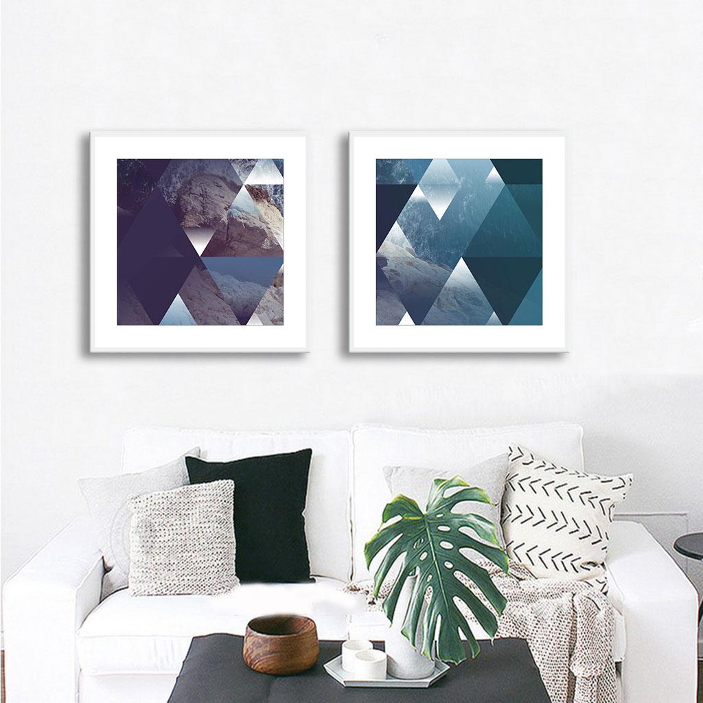 Conjunto de Quadros Decorativos Geométrico Triângulos Azuis