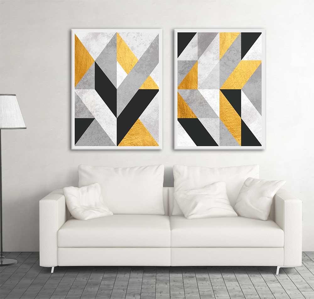 Conjunto de Quadros Decorativos Geométricos Gold