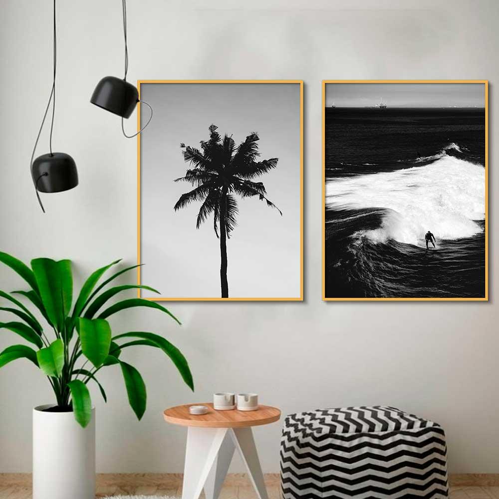 Conjunto de Quadros Decorativos Preto e Branco Palmeira e Mar