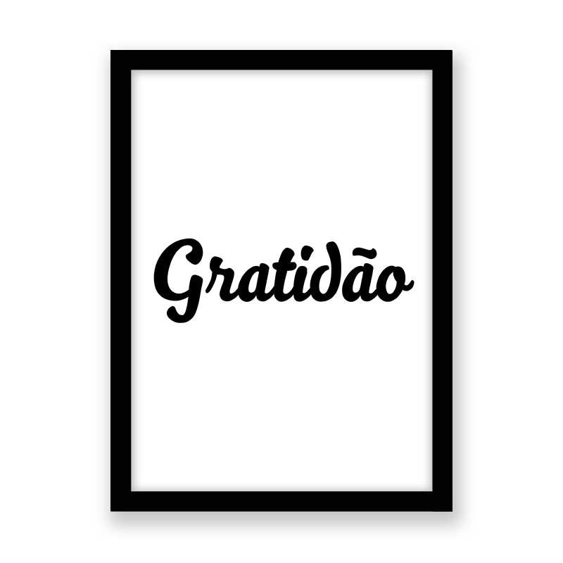 Quadro Gratidão Preto e Branco