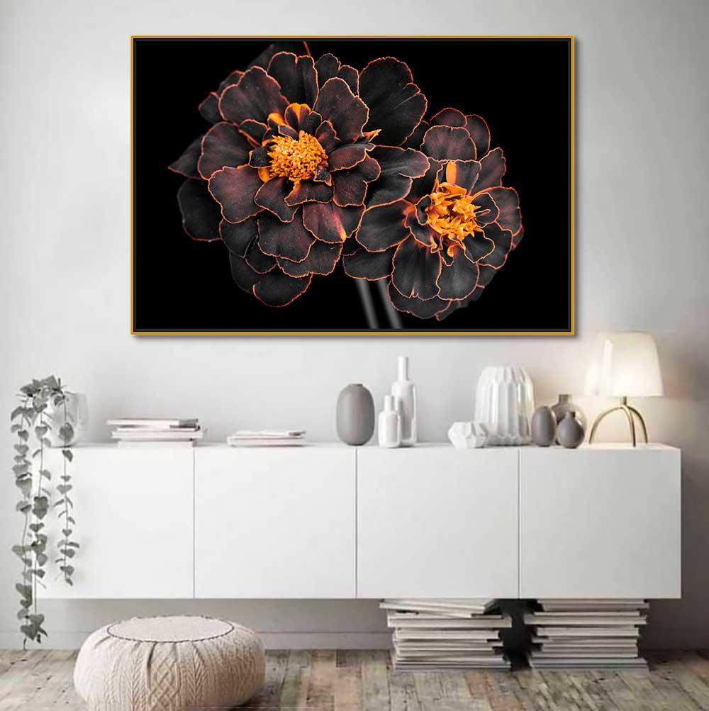 Quadros Decorativos em Tecido Canvas - Flor Com detalhes em Dourado