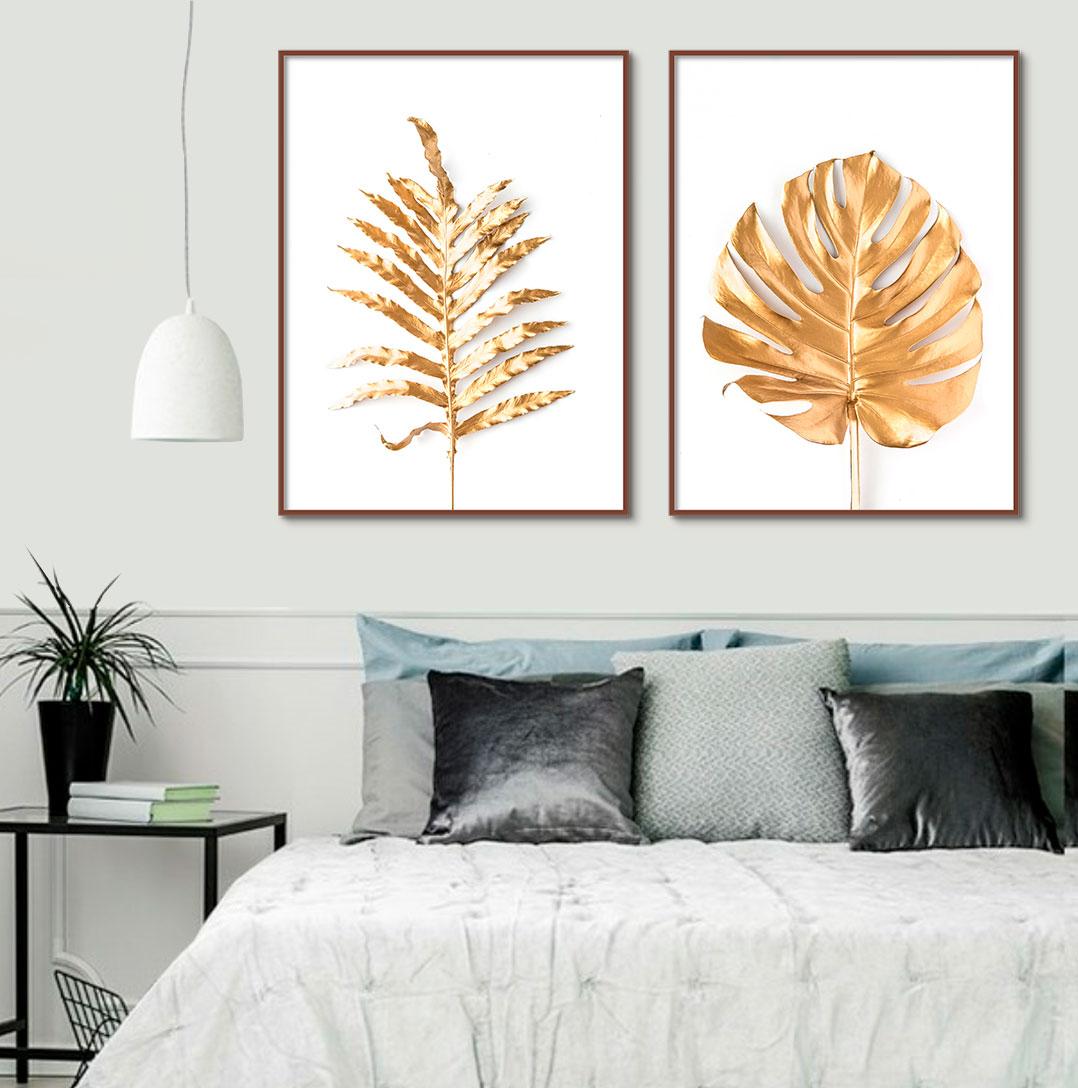 Dupla de Quadros Decorativos com Folhas Douradas