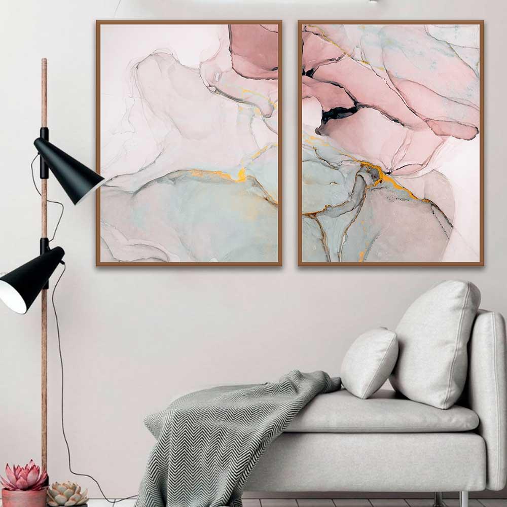 Kit Com 02 Quadros Abstratos Rosê