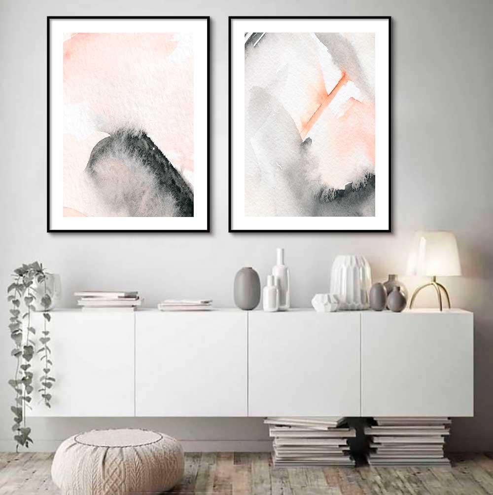 Kit com 02 Quadros Decorativos Abstrato Arte Rose