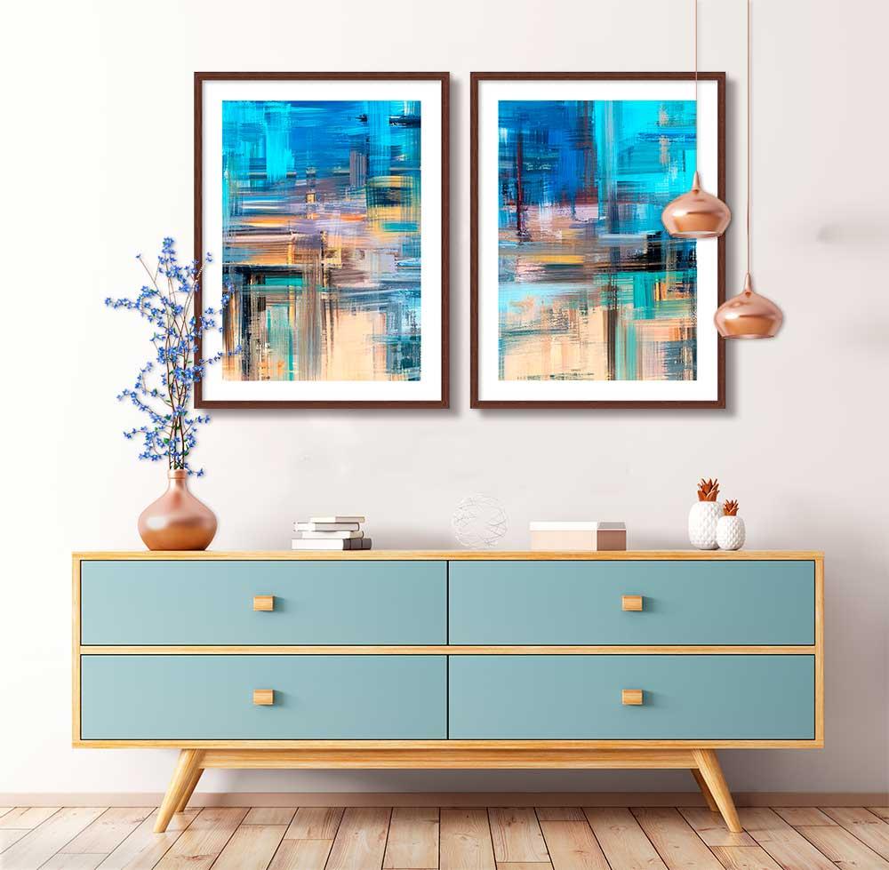 Kit Com 02 Quadros Decorativos Abstrato Pintura Azul Artístico