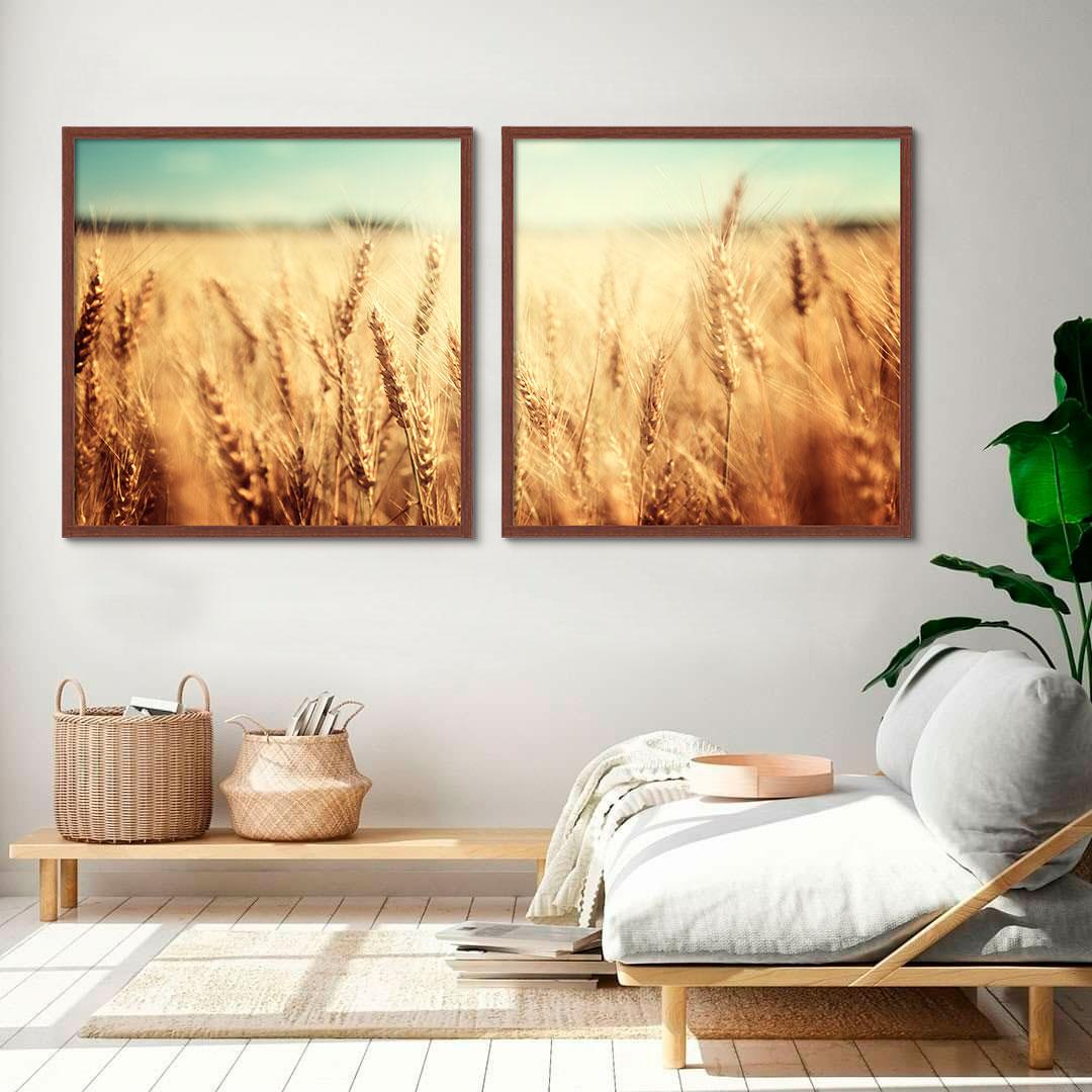 Kit com 02 Quadros Decorativos Agro Fotografia Plantação Trigo