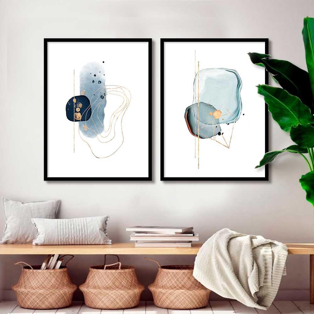 Kit com 02 Quadros Decorativos Arte Azul Abstrato