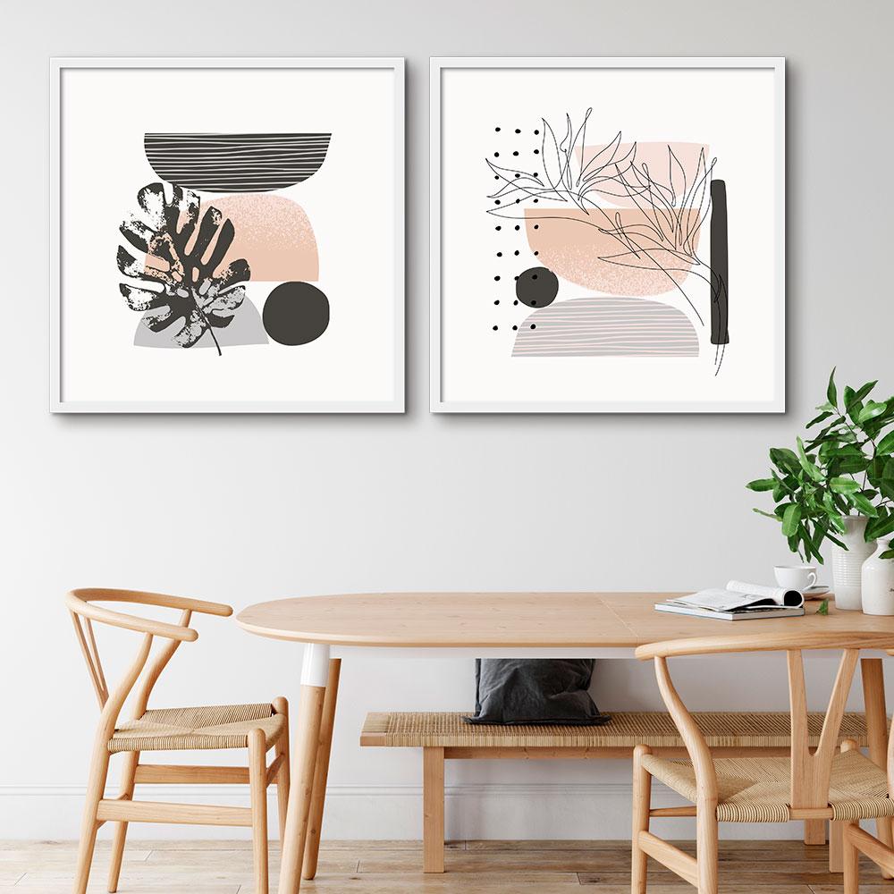 Kit com 02 Quadros Decorativos Arte Doodle Abstrata