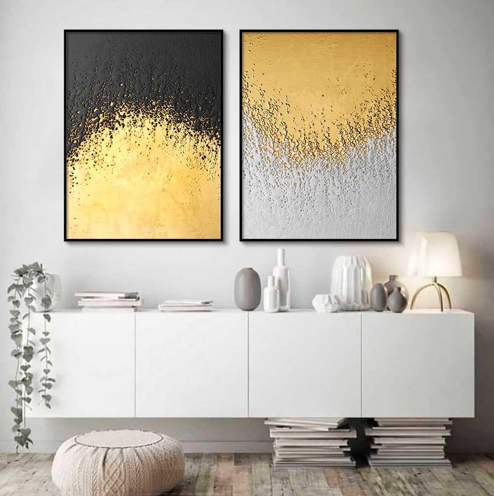 Kit com 02 Quadros Decorativos Arte Textura Dourado