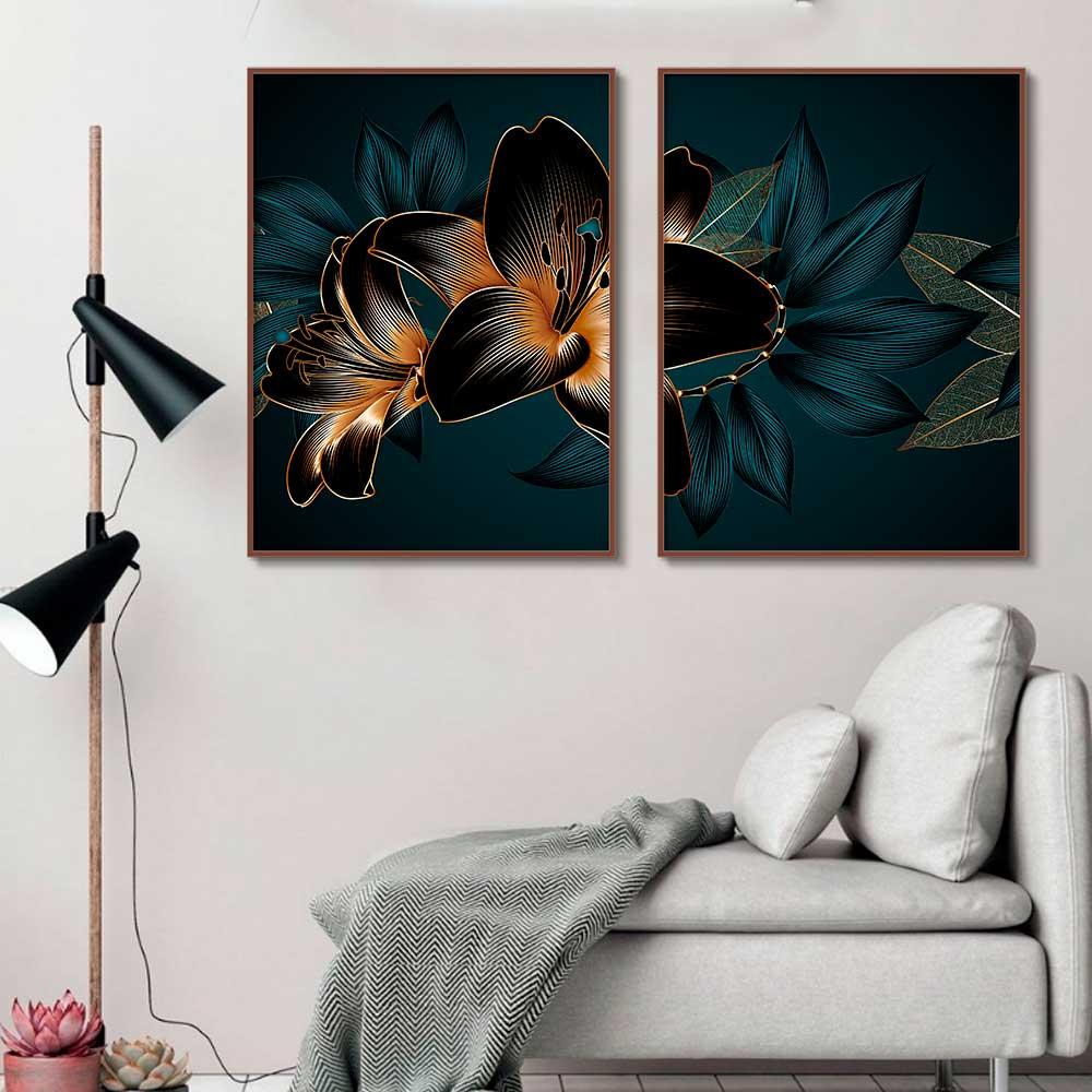 Kit com 02 Quadros Decorativos Flor Vetorizada