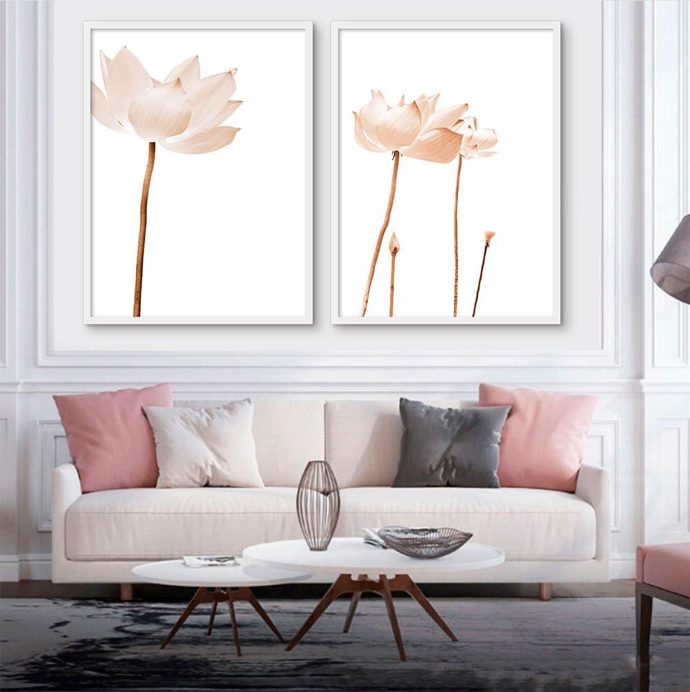 Kit com 02 Quadros Decorativos Flores de Lotus Claras