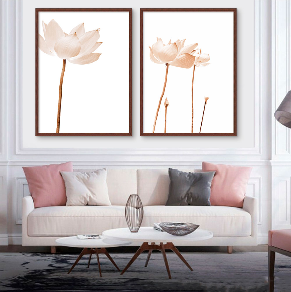 Kit com 02 Quadros Decorativos Flores de Lotus Claras
