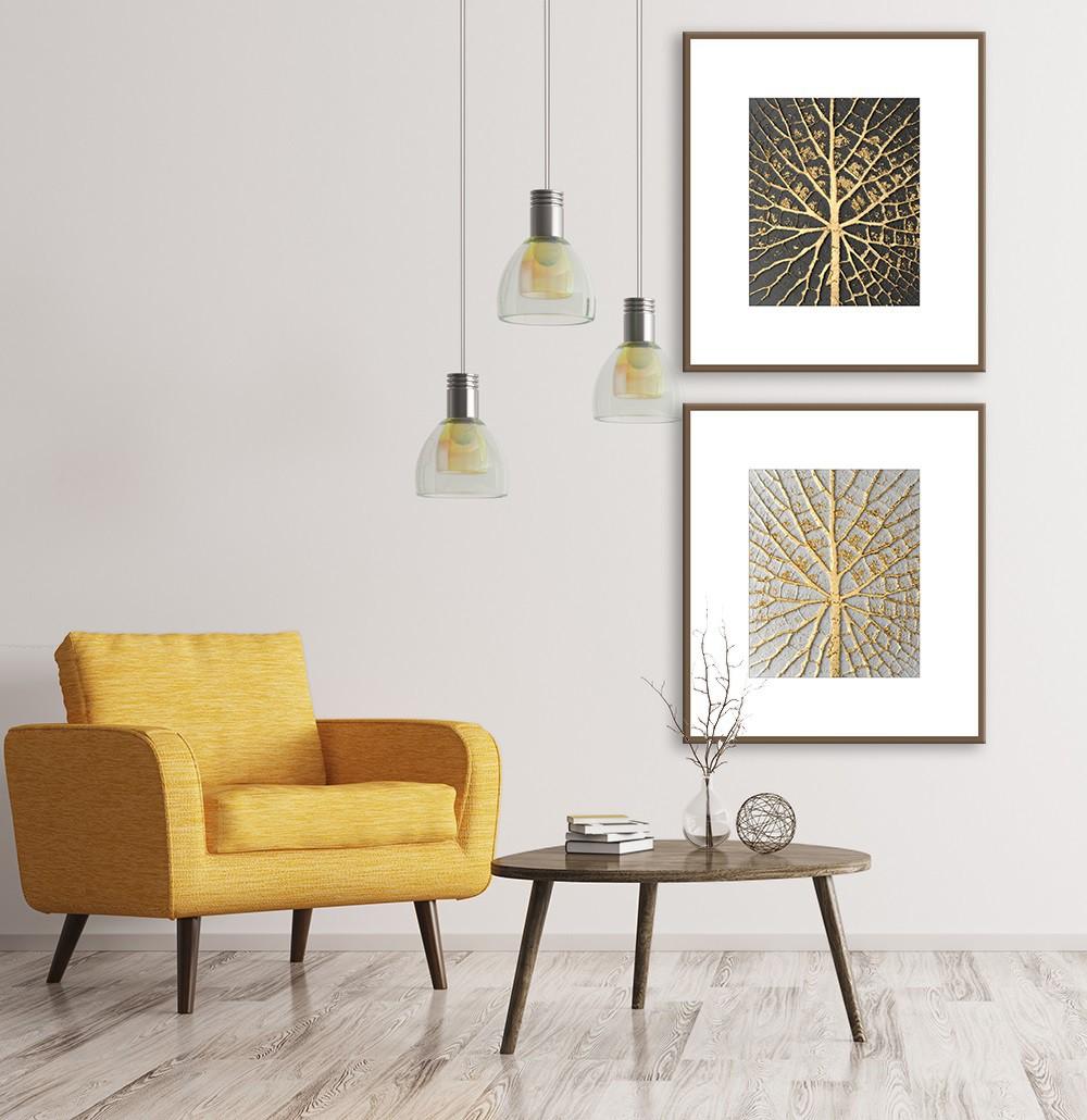 Kit com 02 Quadros Decorativos Folhas de Ouro
