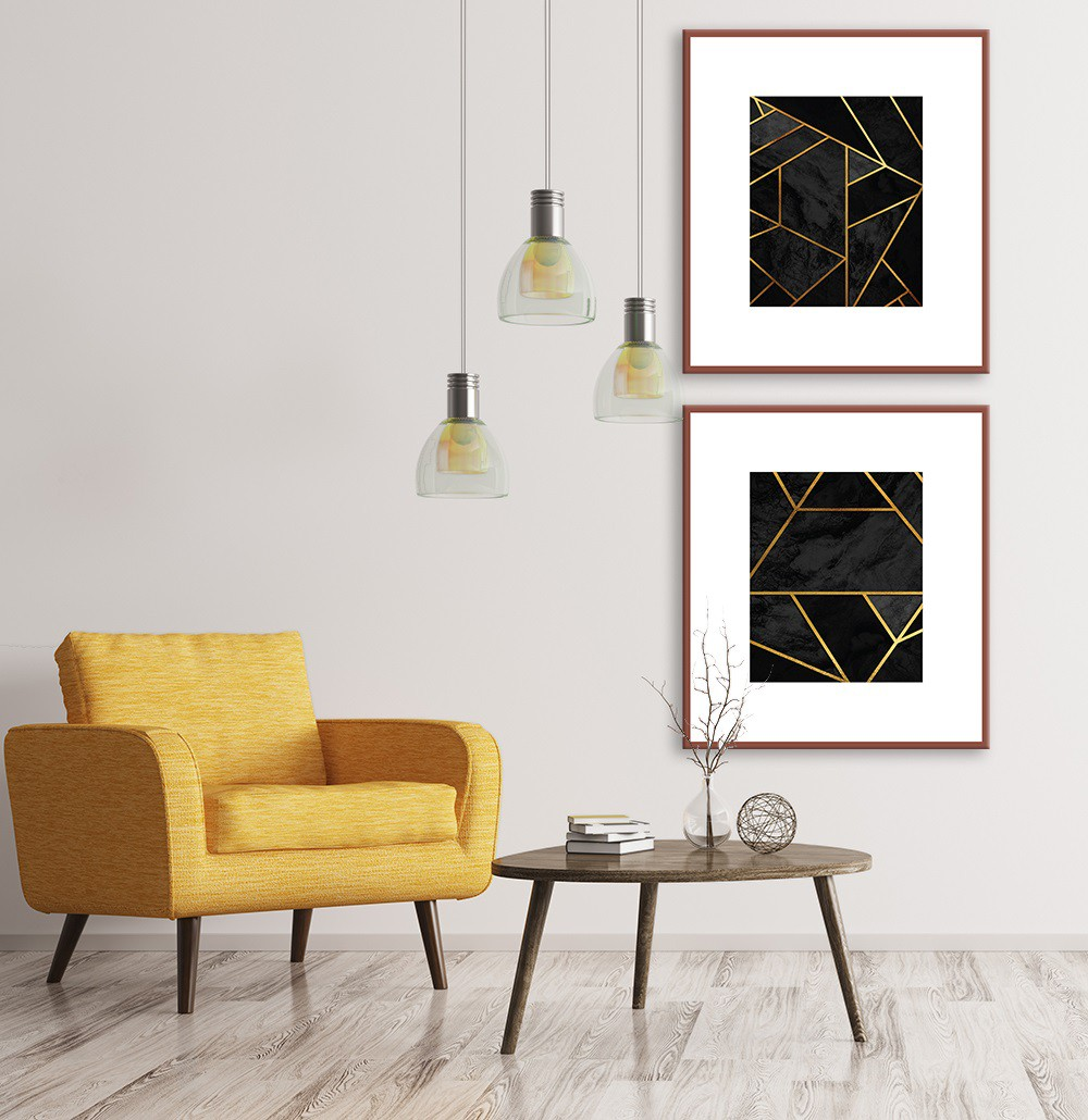 Kit com 02 Quadros Decorativos Geométricos Black and Gold