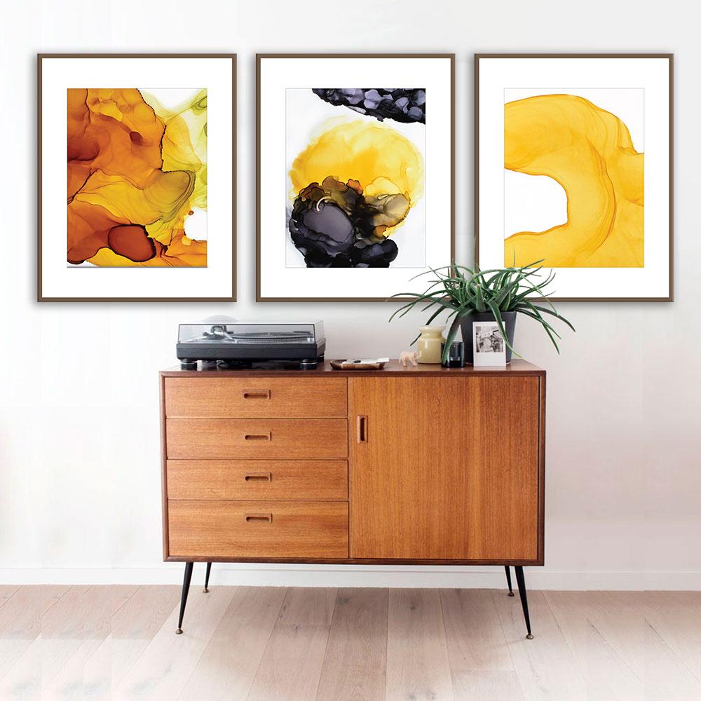 Kit com 03 Quadros Abstrato Amarelo