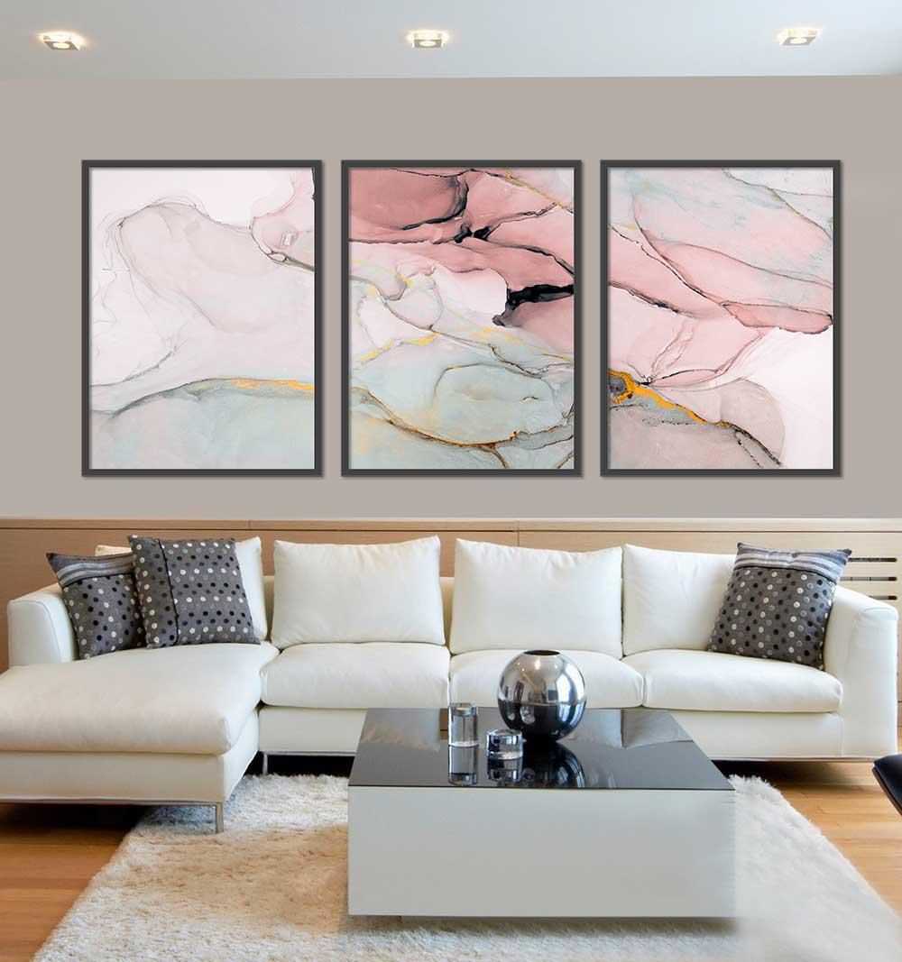 Kit com 03 Quadros Abstrato Rose Marmorizado