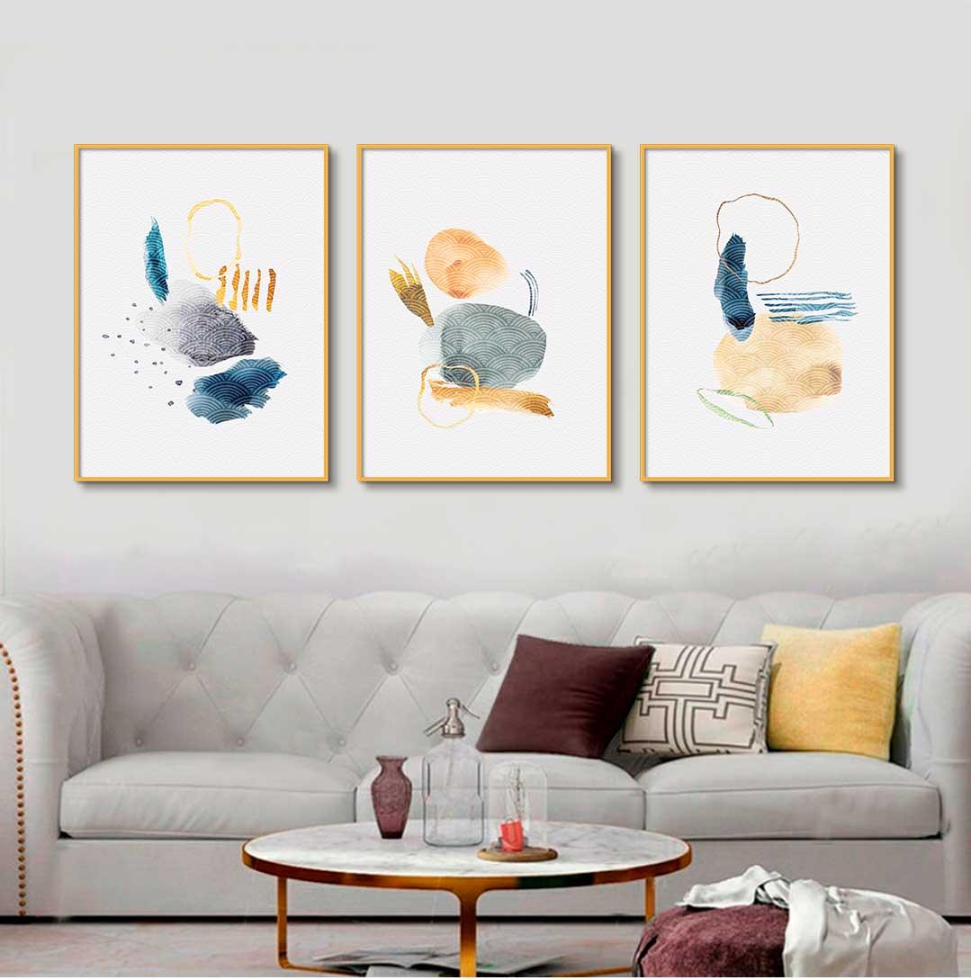 Kit com 03 Quadros Decorativos Abstrato Doodle Artístico
