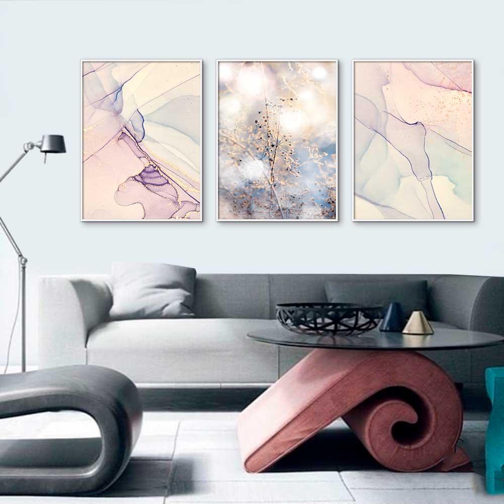 Kit com 03 Quadros Decorativos Abstrato e Flor