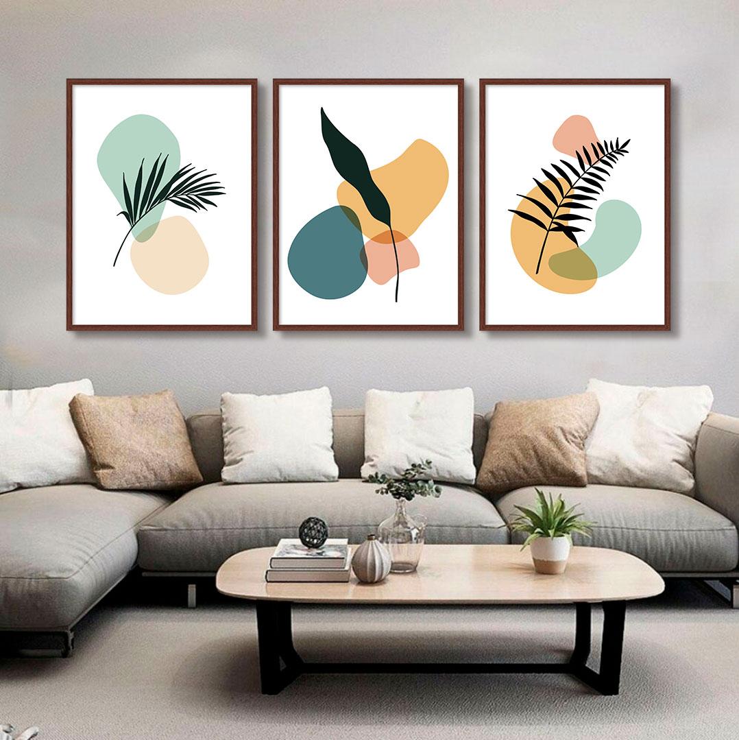 Kit com 03 Quadros Decorativos Abstrato Folhas Doodle Color
