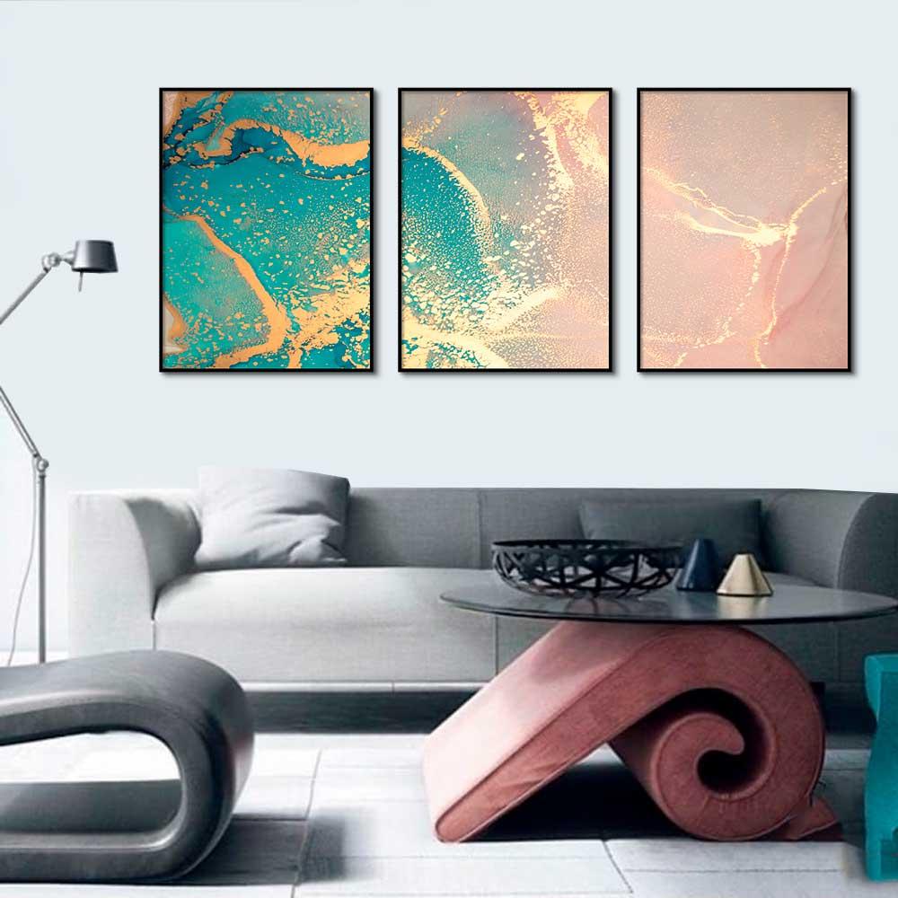 Kit com 03 Quadros Decorativos Abstratos Marmorizado Verde