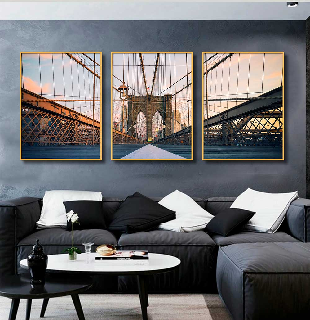 Kit com 03 Quadros Decorativos Ponte do Brooklyn Horizontal