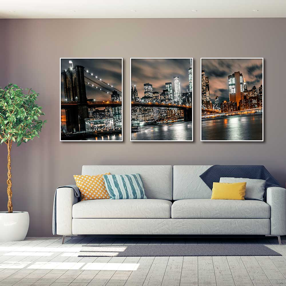 Kit com 03 Quadros Decorativos Ponte do Brooklyn Noturna